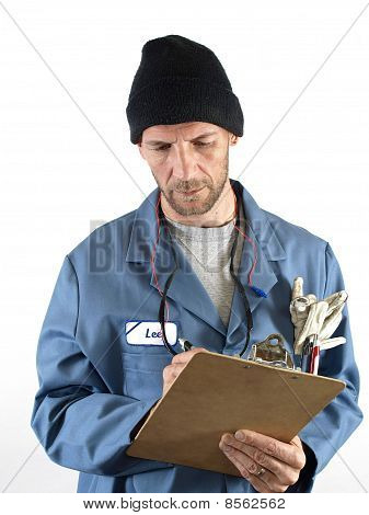 Male Worker Writing Notes