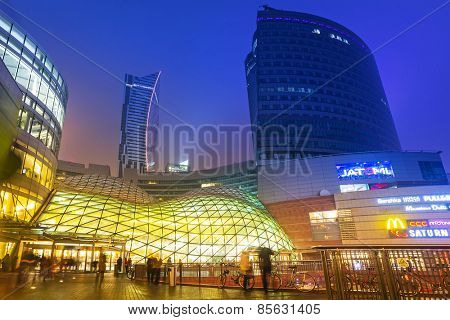 WARSAW, POLAND - 28 FEBRUARY 2014: The Zlote Tarasy shopping center in Warsaw, Poland. The total area of the building amounts to 205 000 squere meters with over 200 shops and restaurants.