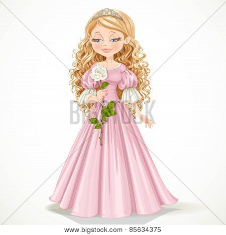 Beautiful Modest Princess In A Pink Dress And Long Hair Admires A White Rose On A Long Stalk