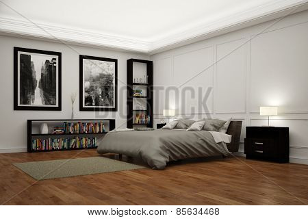 Big bedroom with bed at night illuminated by lamps (3D Rendering)