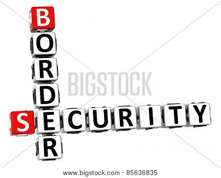 3D Crossword Border Security On White Background