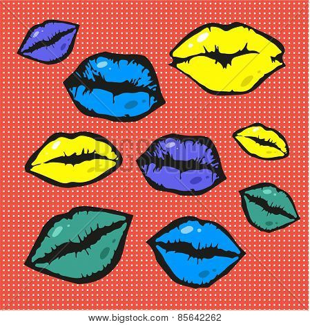 Pop art style vector lips