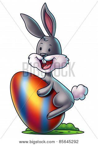 Cartoon Bunny with an Easter Egg