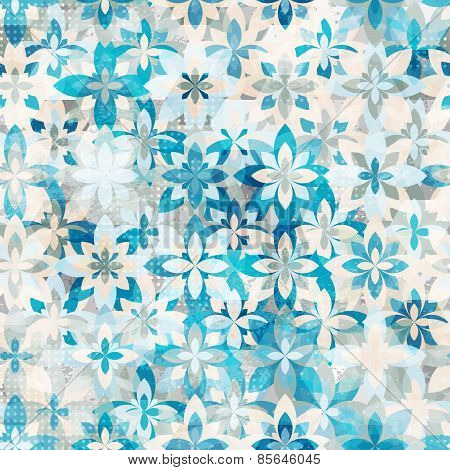 Blue Snow Flowers Seamless Pattern