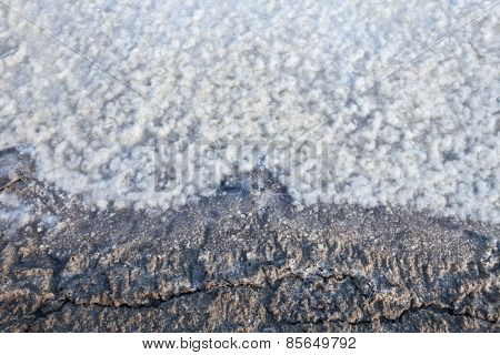 Sea Water On Dirt In Salt Farm Become To Be Salt  After Past Processing Sun Burn Several Day This Is