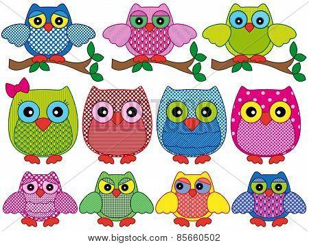 Set Of Eleven Ornamental Cartoon Owls