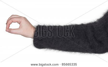A woman's arm with a gesture with his hand