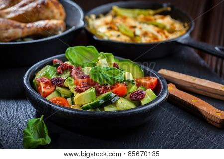 Avocado salad and other appetizers