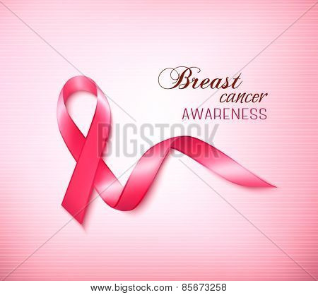 Background with Pink Breast Cancer Ribbon. Vector