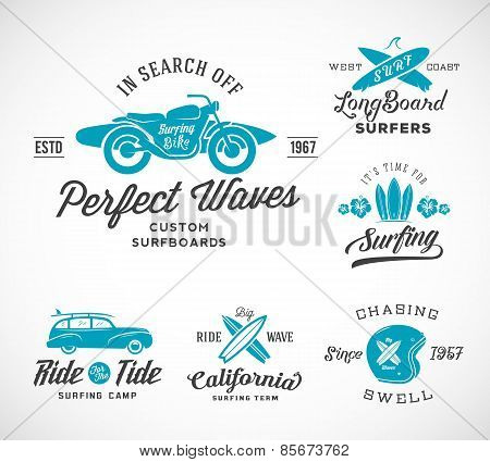 Vector Retro Style Surfing Labels, Logos or T-shirt Graphic Design Featuring Surfboards, Surf Woodie