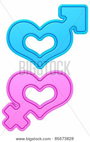 Heart Shapes With Male And Female Gender Signs Isolated On White