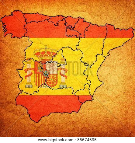 map of administrative divisions of spain with national flag poster