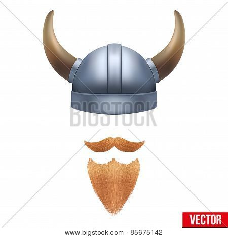 Viking symbol with horned helmet and beard. Vector illustration isolated on white background. poster