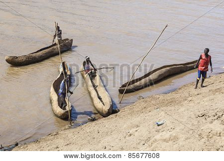 Traditional Dassanech Boats On The Omo River. Omorato,  Ethiopia.