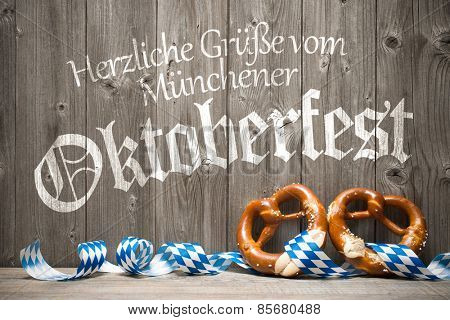 Oktoberfest german beer festival template background. Kind regards from Munich's Oktoberfest
