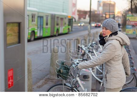 Station of urban bicycles for rent.