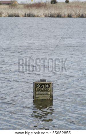 Flooded Tresspass Sign
