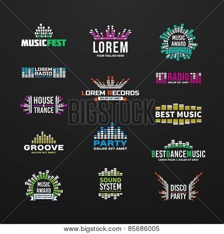 First big set music equalizer emblem vector elements on dark background