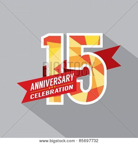 15th Years Anniversary Celebration Design Vector. EPS 10 poster
