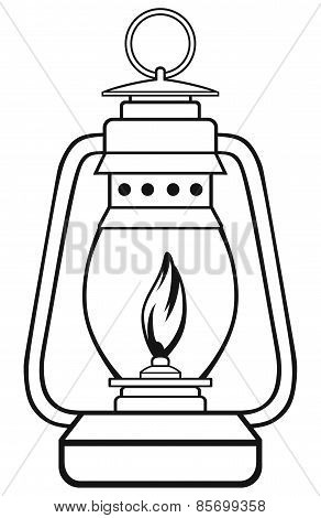 Symbol old dusty oil lamp