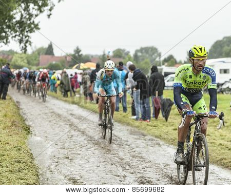 The Cyclist Daniele Bennati On A Cobbled Road - Tour De France 2014