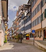 Ober Altstadt street in city of Zug, Switzerland. High dynamic range image (HDR) after tone mapping. poster