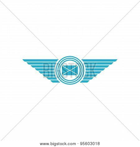Postal envelope with wings logo email message icon poster
