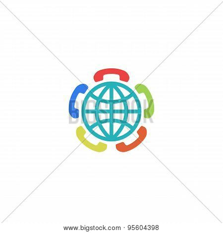 Globe Sign And Colorful Phone Handset, Global Connect Logo