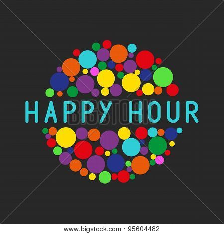 Happy hour party poster colorful bubbles of free cocktail drink poster