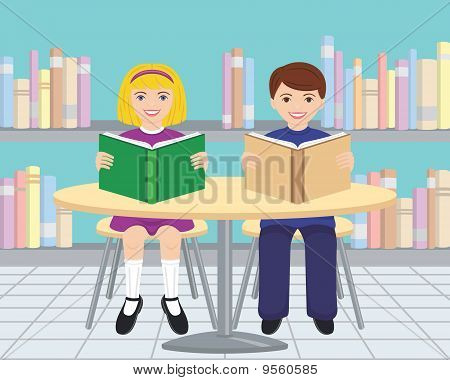 Girl and Boy Reading Books in the Library