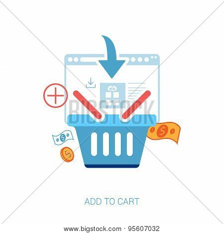 Flat design concept icons for online shopping. Online shop