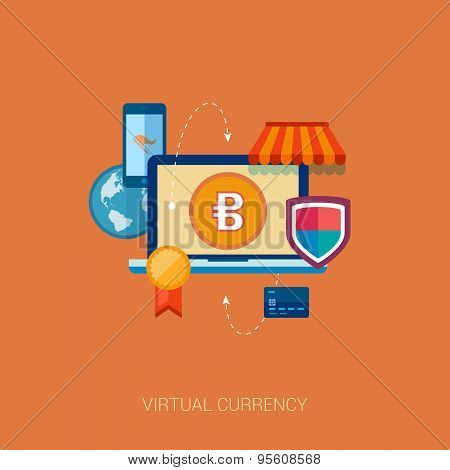 virtual currency block chain flat icon concept illustration