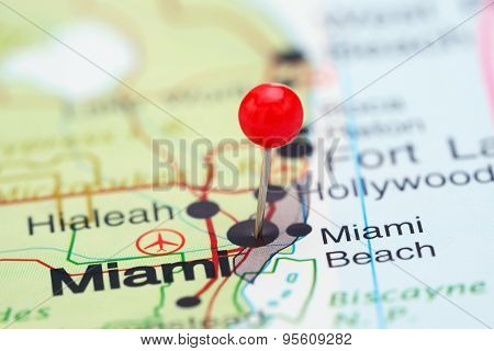 Miami pinned on a map of USA