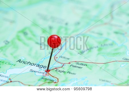 Anchorage pinned on a map of America