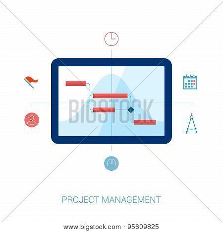 Project management flat icons illustration.