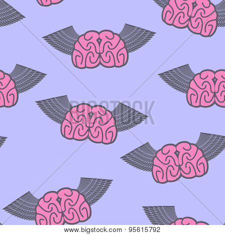 Winged brain seamless pattern. Brain with wings Symbol idea. Brain with Angel Wings on a pupurnom ba
