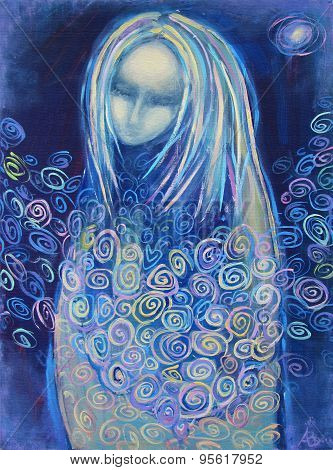 Awaiting birth. Beautiful acrylic painting on canvas of a mysterious woman in blue clothes surrounded by abstract flowers in the light of the star on a night background. Hand drawn portrait. poster