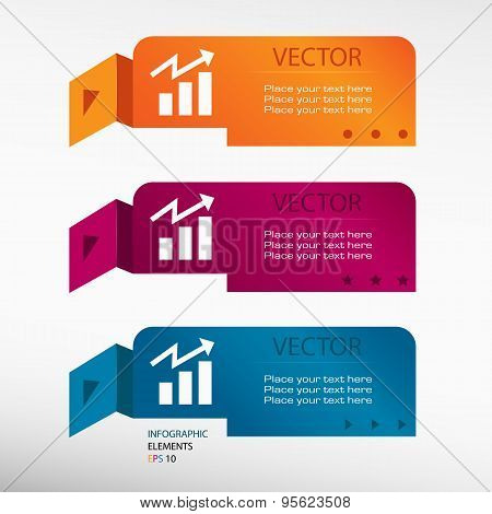 Business Graph Design Element On Origami Paper Banners.