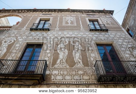 Sgraffito Apartment House At Gothic Quarter In Barcelona, Spain