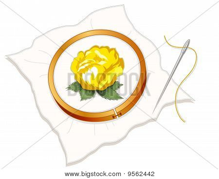 Embroidery - Yellow Rose
