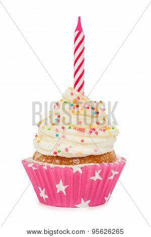Birthday Cupcake With A Candle Isolated On White