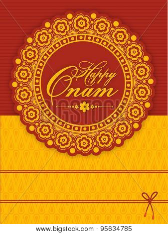 Beautiful floral design decorated greeting or invitation card for South Indian famous festival, Happy Onam celebration.