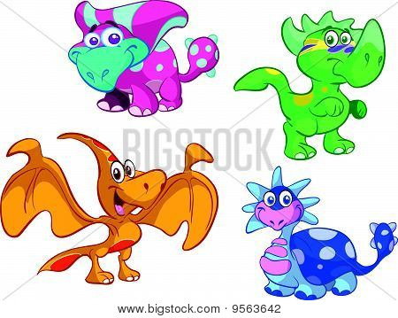 collection of cute baby dino's