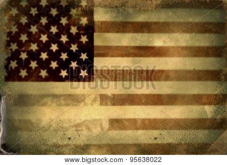 Instagram filtered image of a vintage style American Flag for 4th of july, veterans day, labor day, memorial day poster