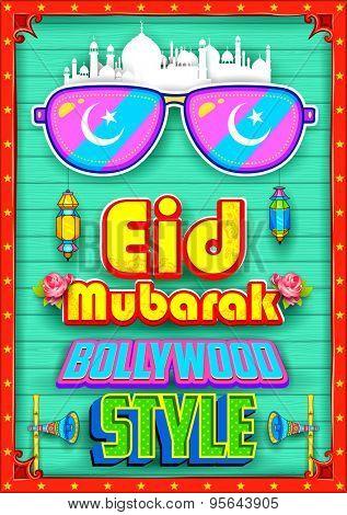 illustration of Eid Mubarak (Happy Eid) background Bollywood Style