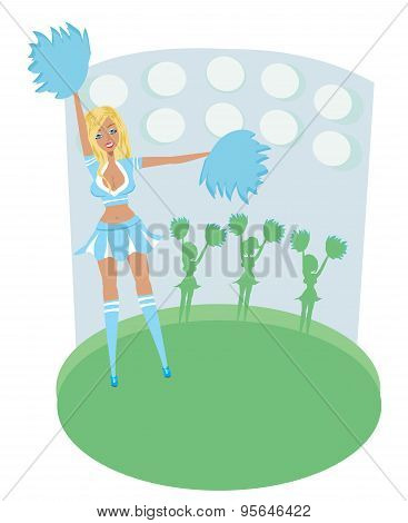 Pretty Blonde Smiling Cheerleader With Pom Poms - Abstract Card