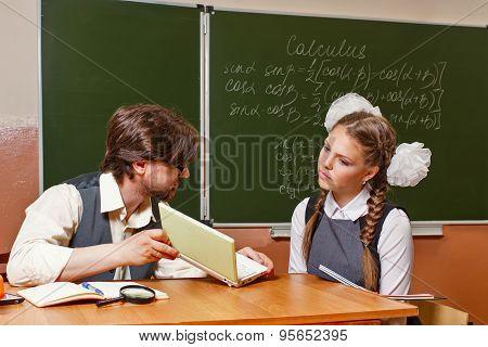 Teacher Explains The Student Difficult Task.