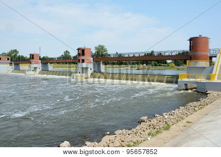 Weir On Odra River.