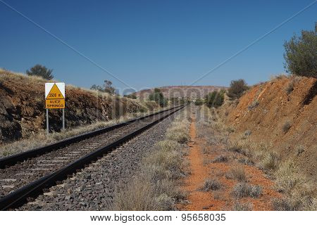 The Ghan railway track from Darwin to Alice Springs