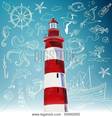 lighthouse and hand-drawn icons of marine theme